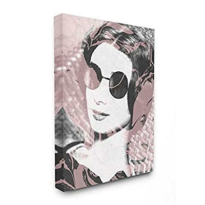 Stupell Industries Fashion Model Lounging in Sunglasses Pink Marble Photography Canvas Wall Art, 24 x 30, Multi-Color