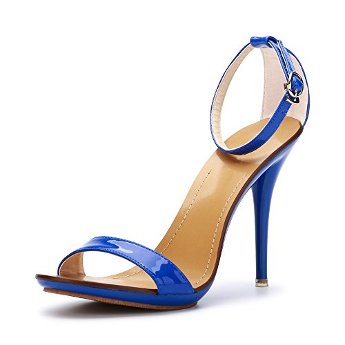 Dancing Stiletto OCHENTA Ankle High Heel Women's Blue Strap Open Sandals Classic Toe c7WnETr7p