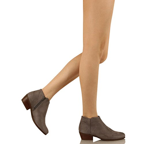 Guilty Schuhe Damen Cowboy geschlossene Zehe Faux Wildleder Bootie - Bequeme Seite Reißverschluss Low Heel Ankle Boot 01-grau-Wildleder
