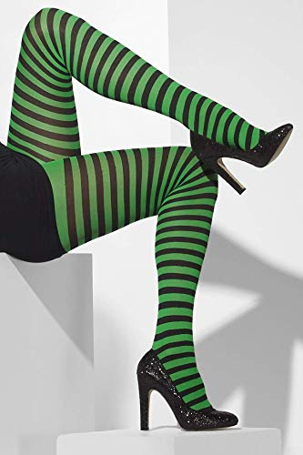 Fever Women's Opaque Tights and Striped, Black/Green, One Size -