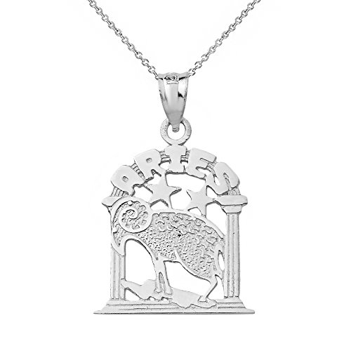 10k White Gold Aries Zodiac Sign Personalized Charm Pendant Necklace, 16
