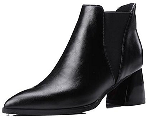 Summerwhisper Women's Sexy Pointed Toe Elastic Club Chelsea Booties Block Mid Heel Biker Ankle Boots Black 4 B(M) -