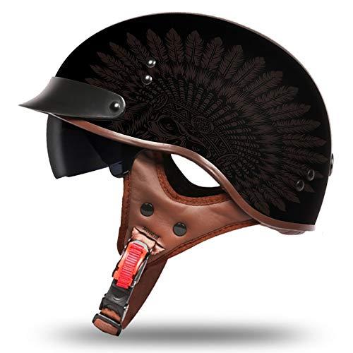 Motorcycle Half Helmet Micrometric Buckle Moped Chopper Helmet with Inner Sun Visor DOT Certified Unisex Universal Printed Indian Style Pattern 57-61cm