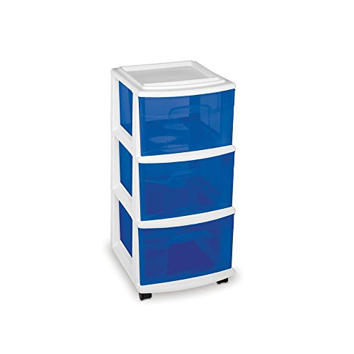 HOMZ Medium 3-Drawer Organizer Cart with 4 Casters, Simple Storage in White Frame with Blue Drawers, Ideal for Office, Dorm and Home Use, 14.25 in. W x 25.5 in. H (3-pack) by HOMZ