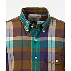 J. Press Madras Short Sleeve Button Down Shirt with Flap Pocket HHOVKM0230: Green
