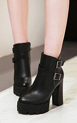 Aisun Femme Eclair Plateforme Chunky Mode Noir Fermeture Bottines rrpqwZdx