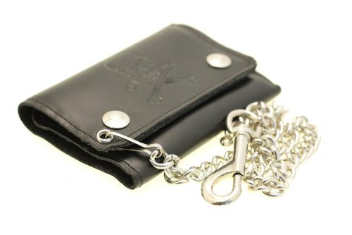 Men's Trifold Biker Wallet Raised Skull Design Chain With A Clip Soft Top Grain Leather Made In America Black