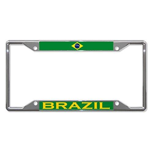 (License Plate Frame Brazil Flag Country Chrome Tag Holder Four Holes)