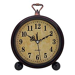 Konigswerk Vintage Retro Old Fashioned Decorative Quiet Non-Ticking Sweep Second Hand, Quartz Analog Desk Clock, Battery Operated, Loud Alarm Clock (Classic)