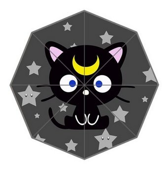 Cute Cartoon Chococat Kawaii Black Kitten Logo Custom Portable Umbrella Foldable Umbrella Out Door Supply