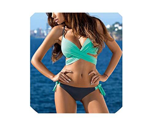 Push Up Bikini 2019 Cross Stripe Women Swimwear Swimsuit Bathing Suits XXL,WC00953,S