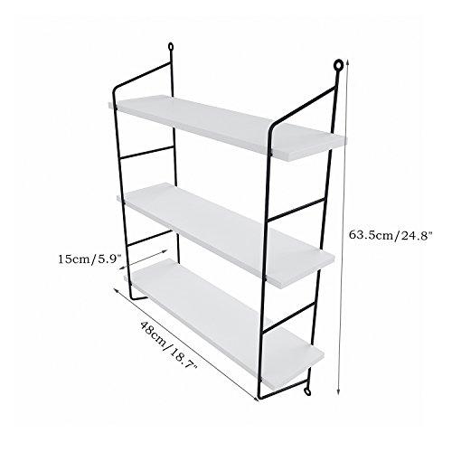 Anfan 3-Tiers Industrial Pipe Wall Mounted Ledge Shelf, Rustic Storage Shelving Bookshelf