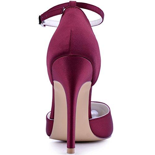 Pumps Pointed Burgundy Strap D'Orsay Women's High Dress Satin Heel Toe Ankle Elegantpark 5YxvFnqPS