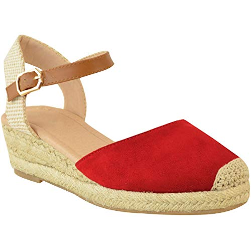 Rojo Sandalias Verano Zapatos Tiras Nuevo Talla Artificial Ante Tacón Heelberry Cuña Alpargatas Fashion Mujer Baja De Thirsty Por 0Xwxq48Z