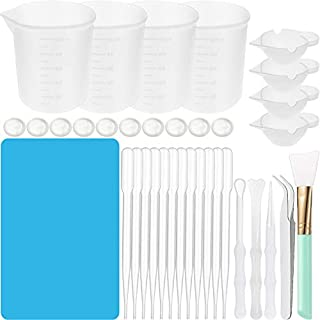 36 Pieces Silicone Measuring Cups Tool Kit, 100 ml Silicone Measuring Cups for Resin, Mini Mixing Silicone Cup Plastic Transfer Pipettes Silicone Stir Stick Brush, Finger Cot, Tweezers, Silicone Mat