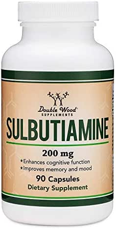 Sulbutiamine Capsules (Nootropic Supplement for Memory, Motivation, Mood, and Focus) Lifts Brain Fog - Made in USA, Third Party Tested, 200mg by Double Wood Supplements (90 Count)