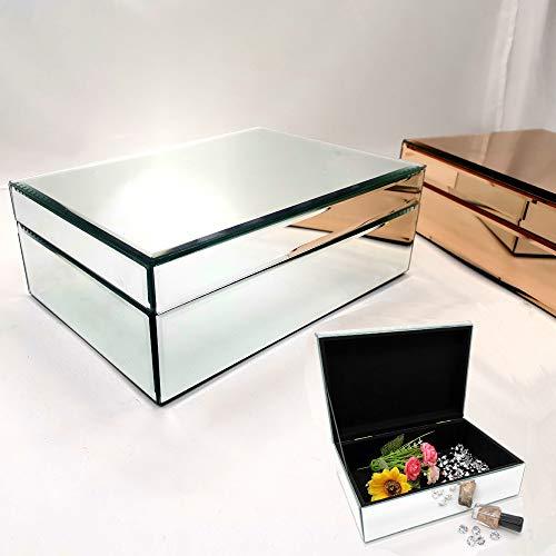 Meetart Silver Glass Mirrored Jewelry Box Simple Classic Storage Organizer High-end Luxury Big Mirror Box (Mirrored Box Jewelry Small)