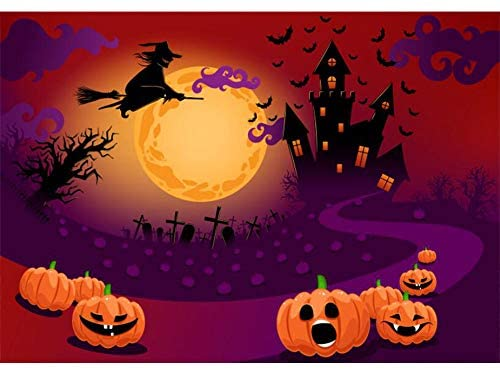 DaShan 6x4ft Polyester Horrible Halloween Backdrop Scary Ghost Graveyard Castle Witch Wizard Sorcerer Theme Halloween Party Photography Background Pumpkin Lamp Halloween Celebration Decor Photo Prop