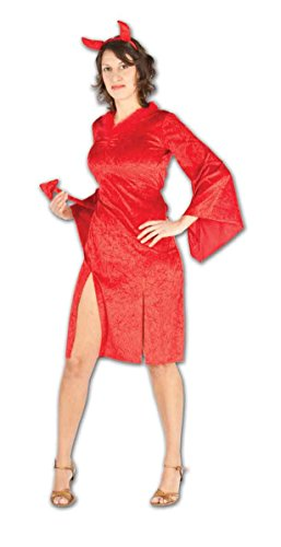 Ladies Halloween Devil Hotty Costume Onesize 4-10 (Onesize (US 4-10), Red) -