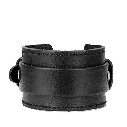 Jeilwiy Leather Bracelet for Men Women Handmade Wristband Wide Cuff Bangle Punk Jewelry Rocker, Biker Bracelet