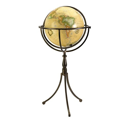 33'' Classic Antique-Style Spinning Floor Globe with Brown Iron Tripod Stand Base by CC Home Furnishings