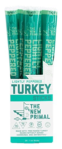 (The New Primal Lightly Peppered Turkey Stick, Paleo, Gluten & Soy Free, Free-Range, Keto, No Added Sugar, 1oz, 20 Count)