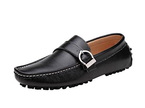 Icegrey Cuir Boucle Mocassins En Chaussures Pour Hommes Noir Plates Avec CrqCnawE