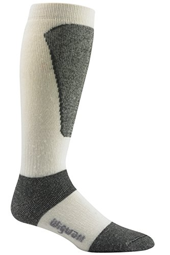 Wigwam Men's Snow Sirocco Knee High Performance Ski Sock, White,Sock size : Medium ( shoe Size : Men's 5-9.5 , Women's 6-10)