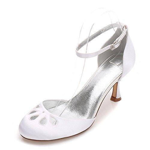 Partido Tarde La Tacones yc Del Bajos 37 De Las Fiesta 17061 L Prom White Redonda Boda Punta Mujeres Bombas Zapatos Satén 7gwTq5
