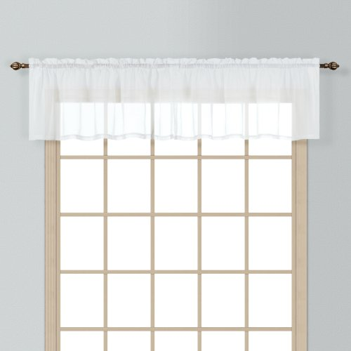 American Curtain and Home Semi-Sheer Window Treatment Valance, 54-Inch by 16-Inch, White