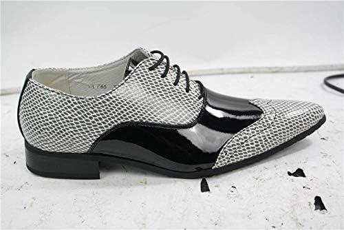 Mens Patent Black White Snake Leather