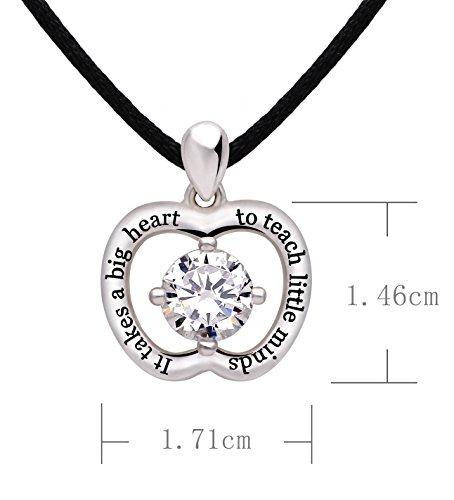 """ALOV Jewelry Sterling Silver """"It takes a big heart to teach little minds"""" Cubic Zirconia Apple Pendant Necklace for Teacher"""