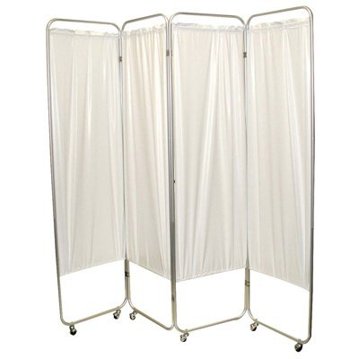 Standard 4-Panel Privacy Screen with casters, vinyl, white, 6 mm thick