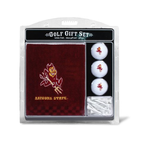 Arizona State Golf Towel - Team Golf NCAA Arizona State Sun Devils Gift Set Embroidered Golf Towel, 3 Golf Balls, and 14 Golf Tees 2-3/4