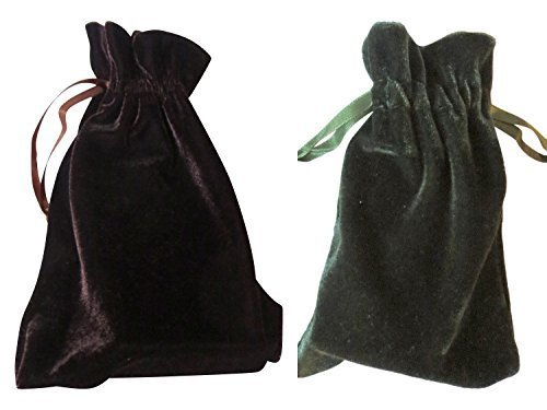 Tarot and Dice Bags Small Velvet Duo Bundle: Seal Brown and Moss Green (4