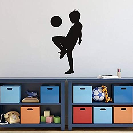 Tianpengyuanshuai Niños Jugando fútbol Silueta niño habitación ...
