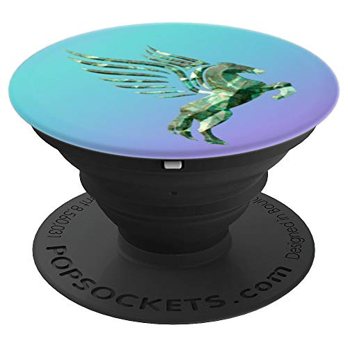 Gemstone faceted look malachite color pegasus design - PopSockets Grip and Stand for Phones and ()