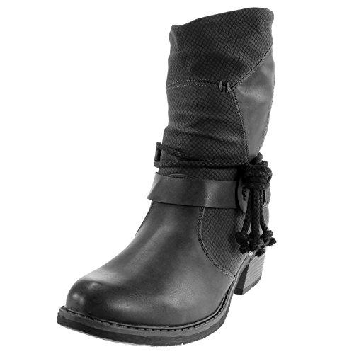 Angkorly Damen Schuhe Stiefeletten - Santiags Cowboy - Reitstiefel Kavalier - Schlangenhaut - Multi-Zaum - Metallisch Blockabsatz 4.5 cm Schwarz