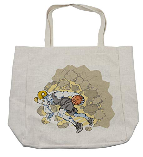 Ambesonne Animal Shopping Bag, Painting Style a Farmville Bighorn Sheep Animal Basketball Player Ilustration Art, Eco-Friendly Reusable Bag for Groceries Beach and More, 15.5