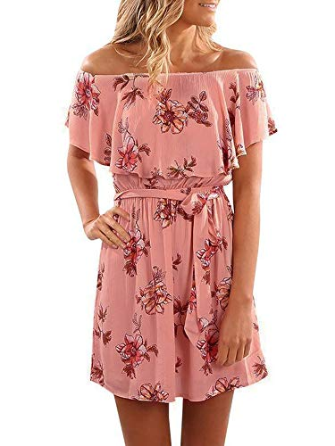 Yobecho Women Summer Off Shoulder Strapless Floral Print Pleated Dresses Pink