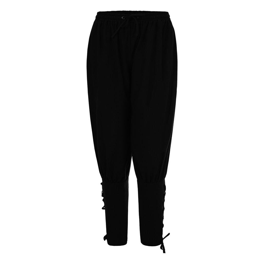 FunStation Men's Medieval Ankle Banded Viking Pants Trousers Costume (L, Black)