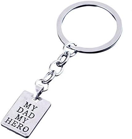 TOOGOO Llavero de moda Regalo del dia del padre MY DAD MY HERO Llavero Joyas para hombres Soporte de cadena de llave Regalos de recuerdo del Dia del Padre para la familia