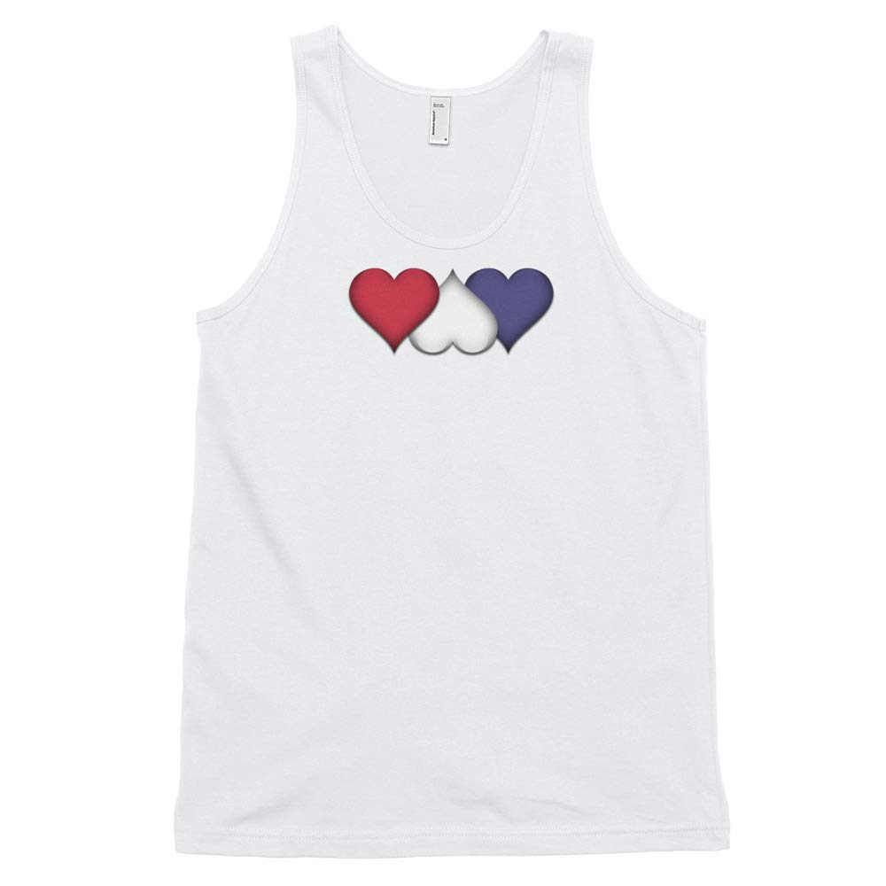 Molti Cose Unisex Tank White and Blue Natl Hearts American Red