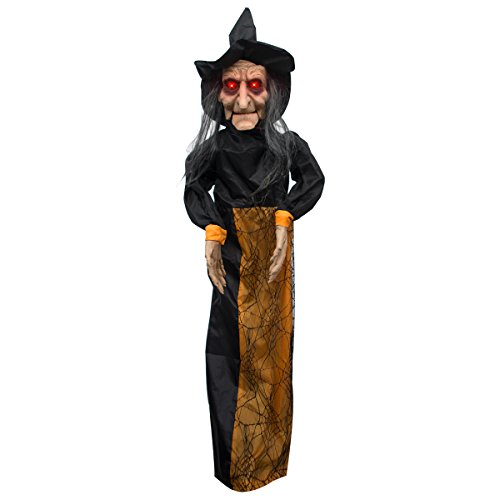 Animated Ghost (Animated Witch Ghost Halloween Decorations - ON'H 3.6 Feet Halloween Party Hanging Grim Reaper Skull with Sound and Glowing Red Eyes –)