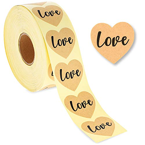 Best Paper Greetings 1000-Piece Kraft Love Stickers Roll - Heart Labels for Wedding Envelopes, Scrapbooking, and Crafts, 1.5 Inches