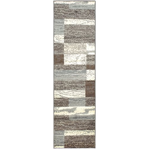 Superior Modern Rockwood Collection Area Rug, 8mm Pile Height with Jute Backing, Textured Geometric Brick Design, Anti-Static, Water-Repellent Rugs - Light Blue & Ivory, 27 x 8 Runner Rug