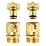 Litorange Easy Connect New Garden Hose End and Quick Connector. 3/4 inch GHT Brass Easy Connect Fitting 4 Piece Set Male and Female
