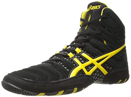 ASICS Men's Dan Gable Ultimate 4 Wrestling Shoe, Black/Yellow/Gunmetal, 11.5 M US