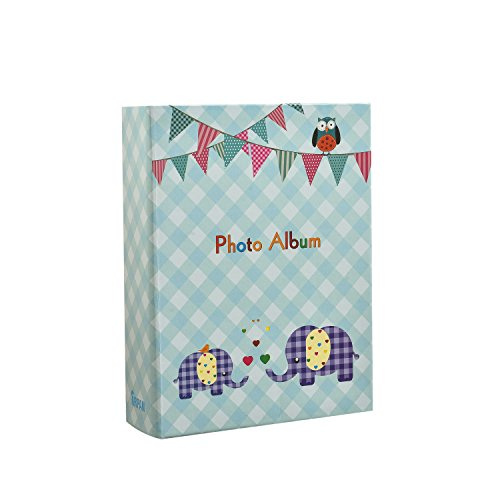 - ARPAN 6x4'' Small Slip in Case Photo Album for 100 Photos Various Design & Colurs (Blue Elephant Kids)