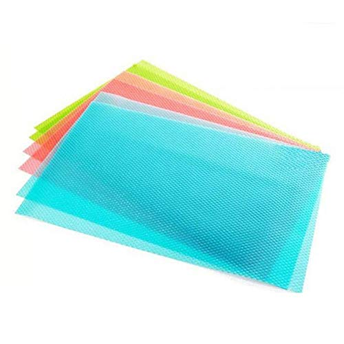 Can Be Cut Refrigerator Pad Antibacterial Antifouling Mildew Moisture Absorption Pad Mat Table,set of 4,Pink - Grip Prints